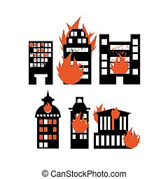 Fire building Set of icons lit city buildings Emergency...
