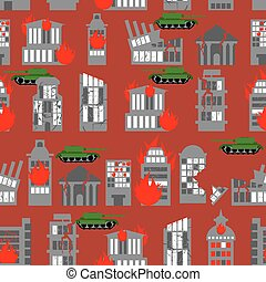 War seamless pattern Ruined city Tanks in town Skyscrapers...