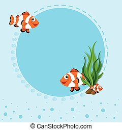 Border design with clownfish illustration
