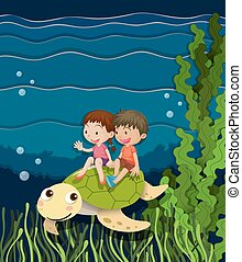 Boy and girl riding on turtle underwater
