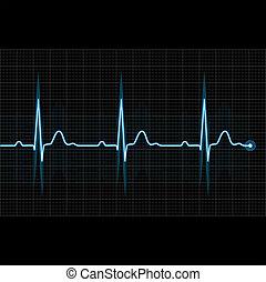 Electrocardiogram 2d illustration on black background -...