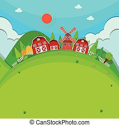 Farm land with barns and windmill