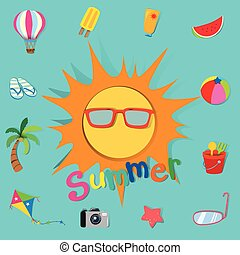 Summer theme with sun and objects illustration
