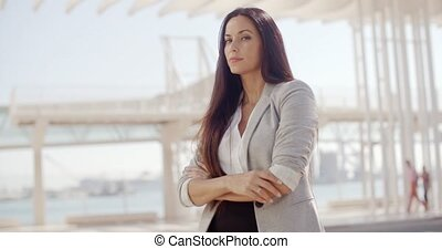 Disappointed businesswoman giving a thumbs down -...