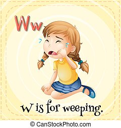 Flashcard letter W is for weeping illustration