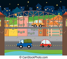 Cars driving in the city