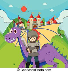 Knight and dragon in the field illustration