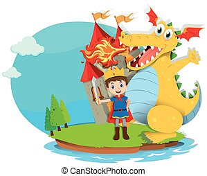 Prince and dragon blowing fire illustration