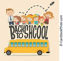 Back to school theme with teacher and pupils illustration