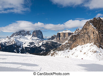 Skiing area in the dolomites Alps - Dolomites Alps -...