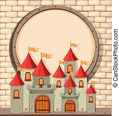 Border design with castle towers illustration