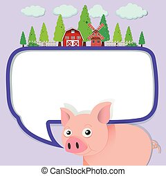 Border design with pig on the farm