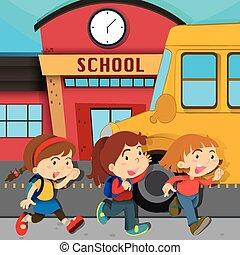 Children running in front of school
