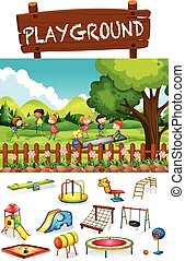 Playground scene with children and toys