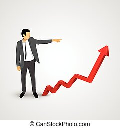 Businessman points to the growing chart