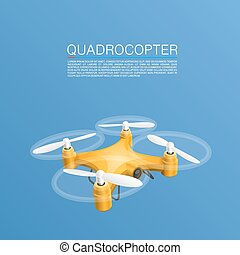 Quadrocopter unmanned camera object cover Vector...