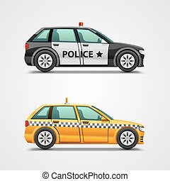 Police cars and taxis obgect. Vector illustration