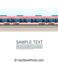 Train on a white background in movement