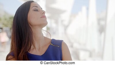 Young woman with a dreamy expression - Gorgeous young woman...