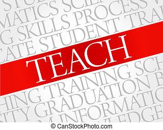 TEACH word cloud, education concept