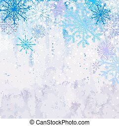 Winter snowstorm background - Winter blue Christmas and New...