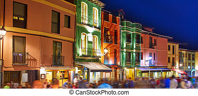 barrio humedo nightlife, in leon downtown spain - barrio...