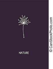 Abstract flower on purple background.
