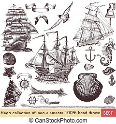 Mega nautical pack with ships, shells and other sea elements...