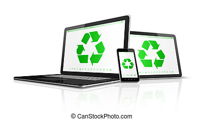 Electronic devices with a recycling symbol on screen. environmental conservation concept