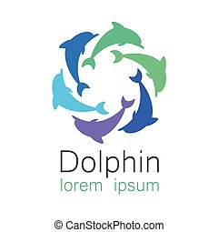 dolphin logo - Dolphin. Template design of logo for the...