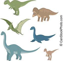 Cartoon set diplodocus plesiosaur pterosaur triceratops...