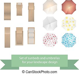 Set of vector sunbeds and umbrellas. Collection for...
