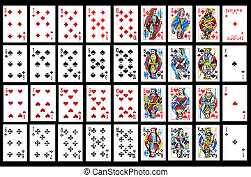 Set of playing card close up - object on balck - playing...
