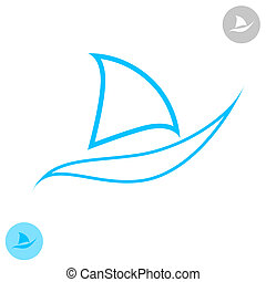 Concept of boat on white background