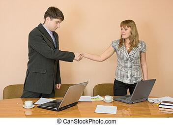 Handshake men and young women