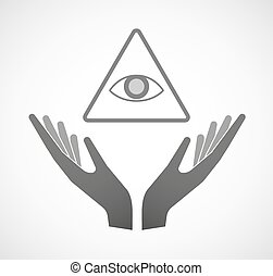 Two hands offering an all seeing eye - Illustration of two...