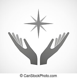 Two hands offering a sparkle - Illustration of two hands...
