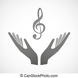 Two hands offering a g clef - Illustration of two hands...