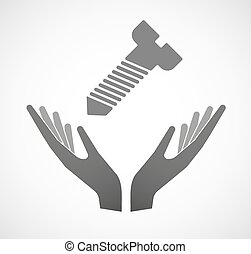 Two hands offering a screw