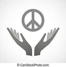 Two hands offering a peace sign