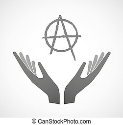 Two hands offering an anarchy sign - Illustration of two...