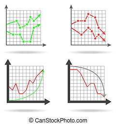Icons of financial charts on white background, 2d...