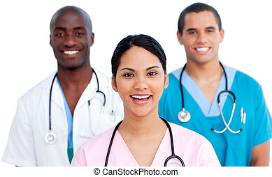 Retrato, médico, jovem, equipe