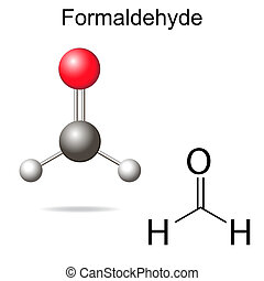 Formaldehyde model - structural chemical formula of...