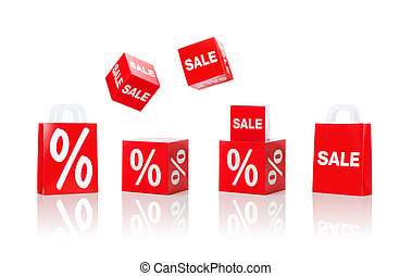 boxes and shopping bags with sale and percent sign -...