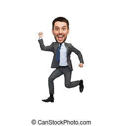 funny cartoon style businessman jumping - business and...