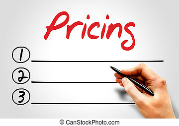 Pricing blank list, business concept