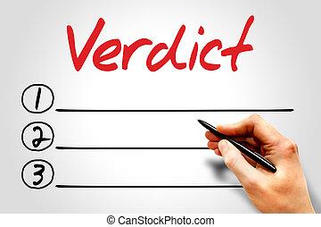 Verdict blank list, business concept