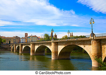 Way of Saint James in Logrono bridge Ebro river - The Way of...