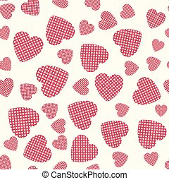 Seamless pattern with applique hearts